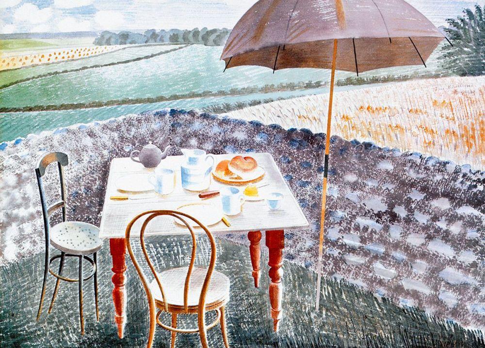 Eric Ravilious: Tea at Furlongs, 1939