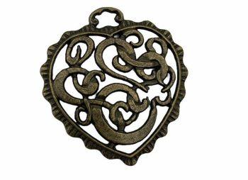 Antique bronze heart - C17