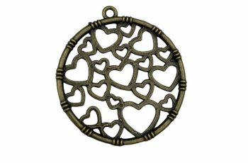 Antique bronze circle with hearts pendant - C15