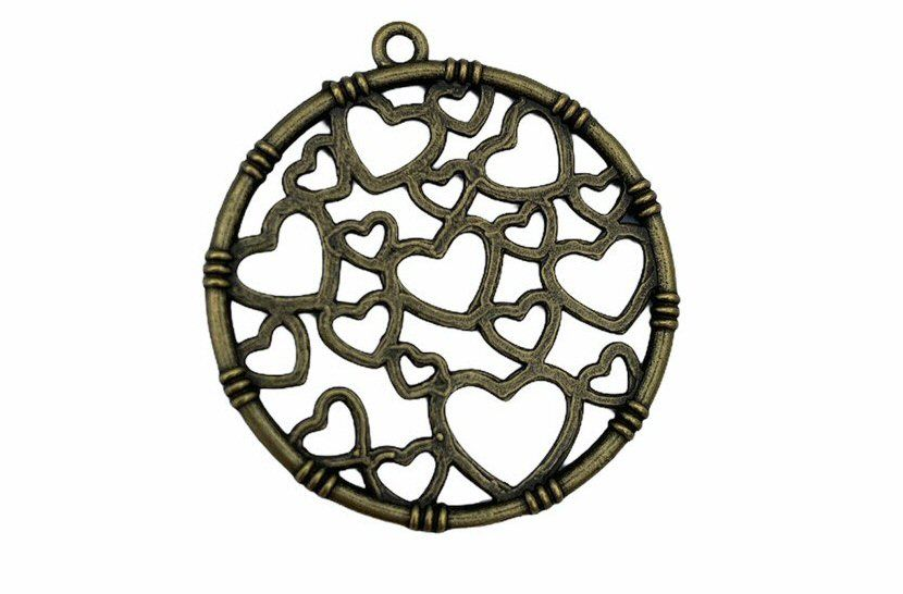 brass circle with hearts pendant
