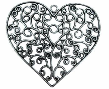 Large silver style heart pendant - D5