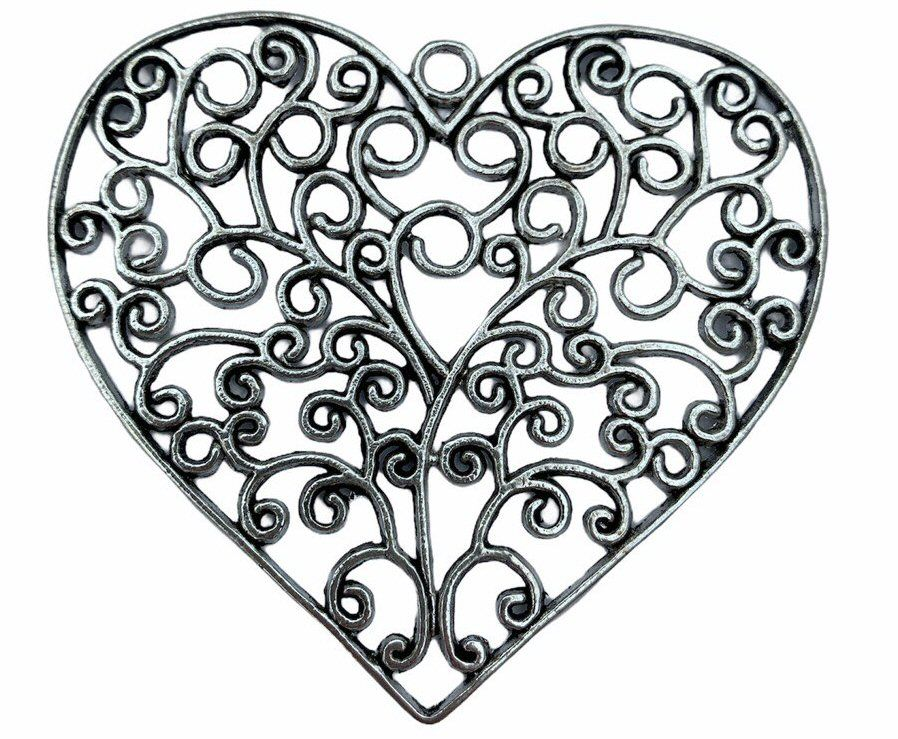 Large silver style heart pendant