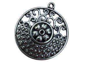 Silver style circular pendant - D6