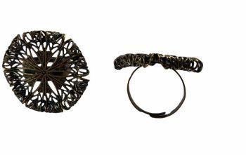 Antique bronze  Filigree ring