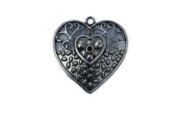 Silver style pendant heart shape - D10