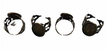 Antique bronze oval filigree rings