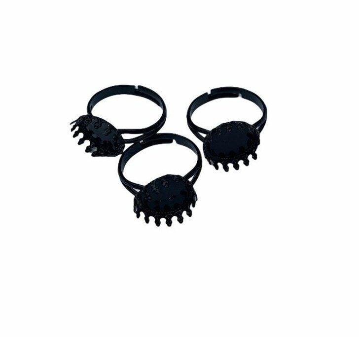 Tiny metal black coated rings