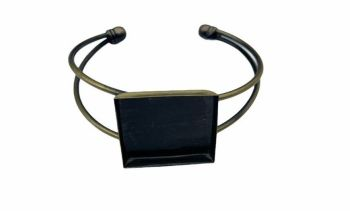Brass square bezel tray bangle - F4