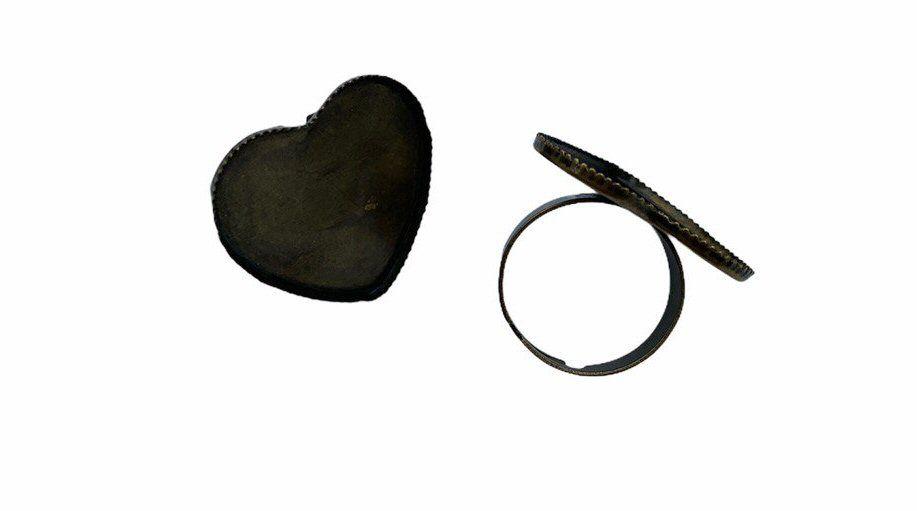 Brass heart shaped tray ring