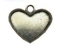 silver style small heart bezel tray - A15