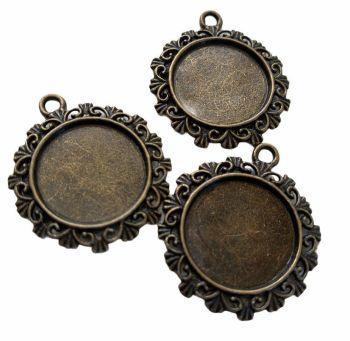 Bronze  style circular patterned bezel trays - B3