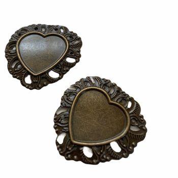 bronze  style filigree heart bezel tray - F3