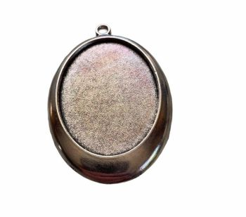 Silver style oval pendant tray - A1