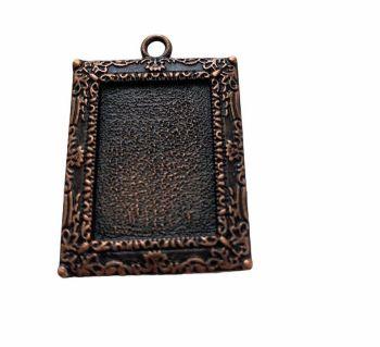 copper rectangular bezel tray - B12