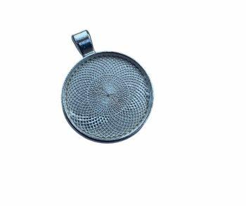 silver style circular bezel tray - B4