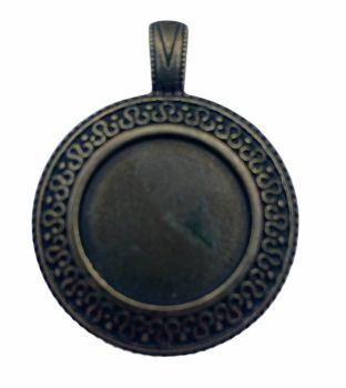 patterned bronze style  round bezel tray - F2