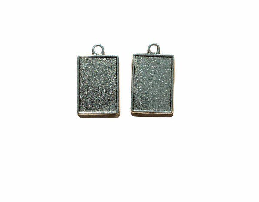 Tiny silver style rectangular bezel trays