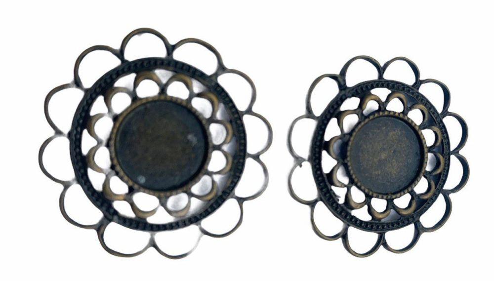 bronze style round filigree bezel grays