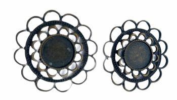 bronze style round filigree bezel trays - F1