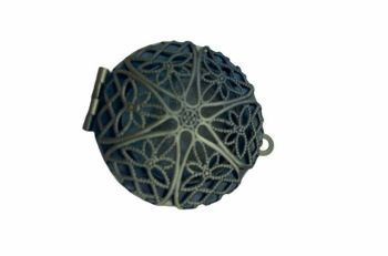 Bronze style circular filigree locket - A10