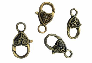 gold style heart clasps - A12
