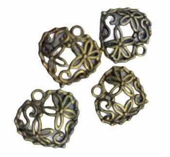gold style tiny filigree hearts - A13