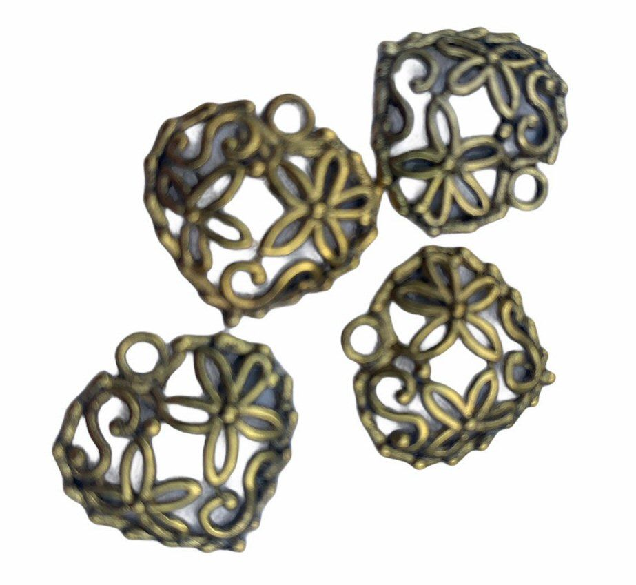 gold style tiny filigree hearts