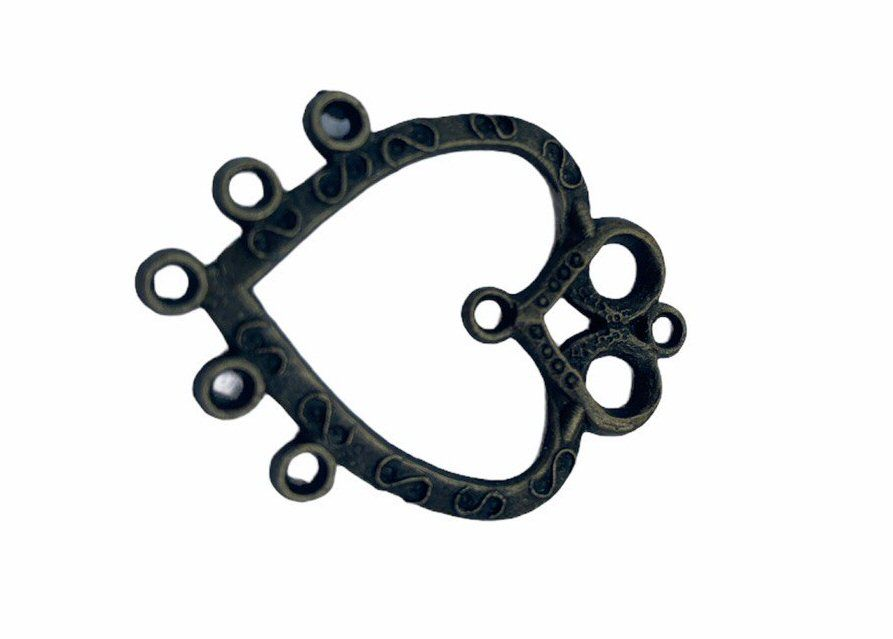 bronze style heart frame with 5 connectors-F1