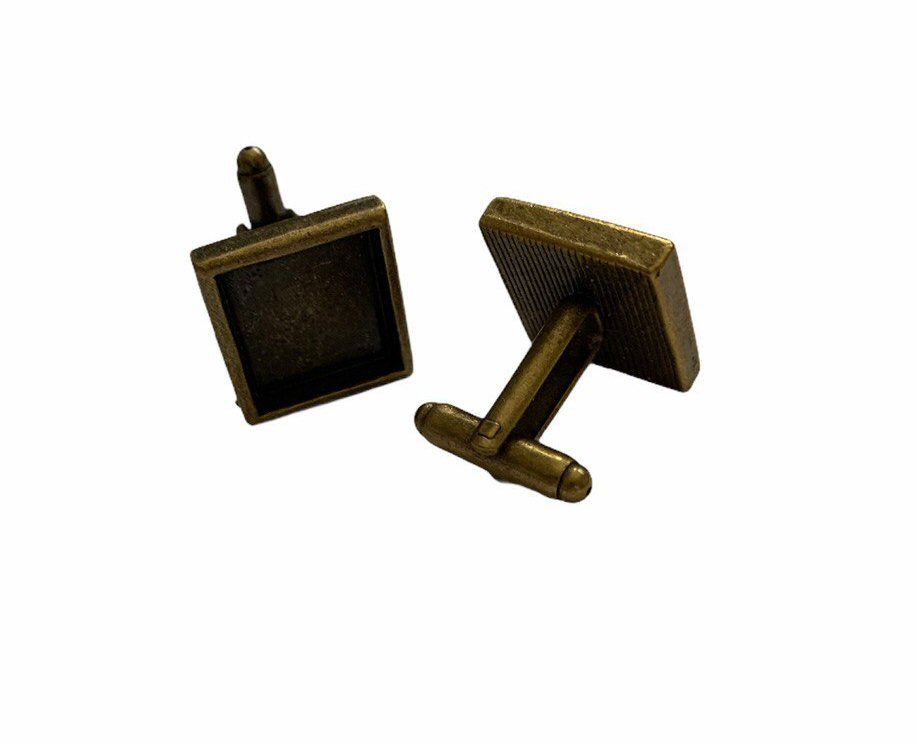 Copper style square cuff link with bezel tray