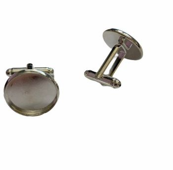 silver style cuff link with large tray - A8