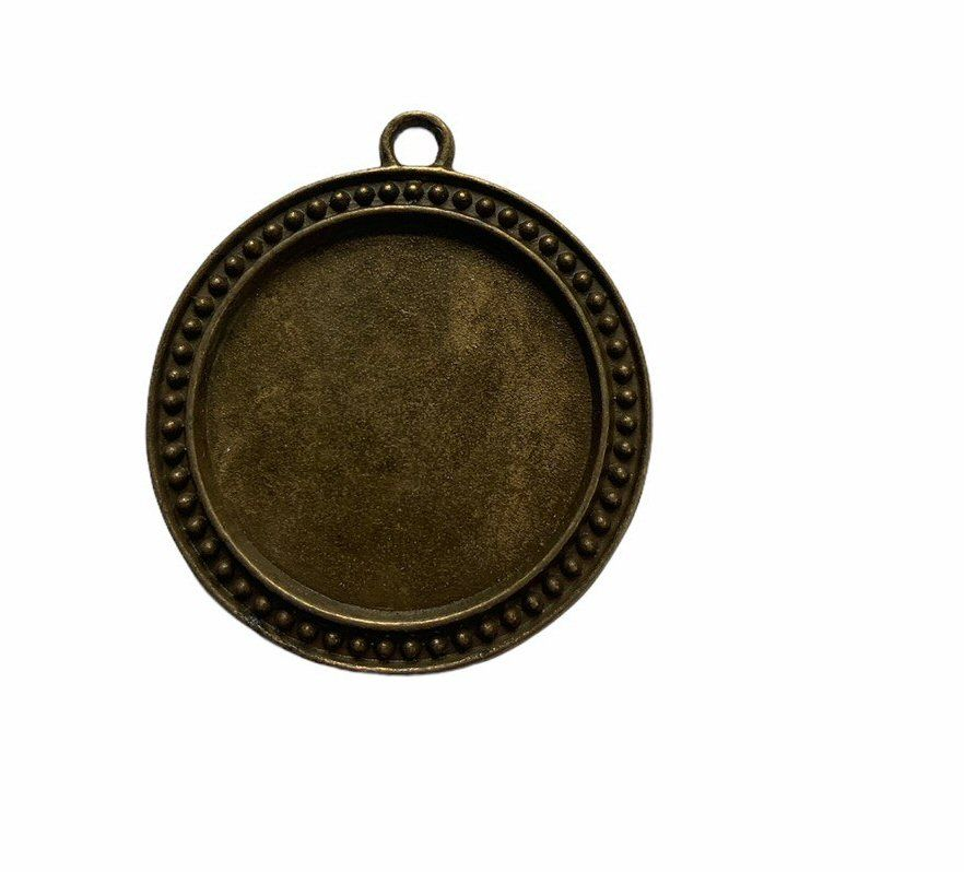 Bronze style circular patterned pendant - A3