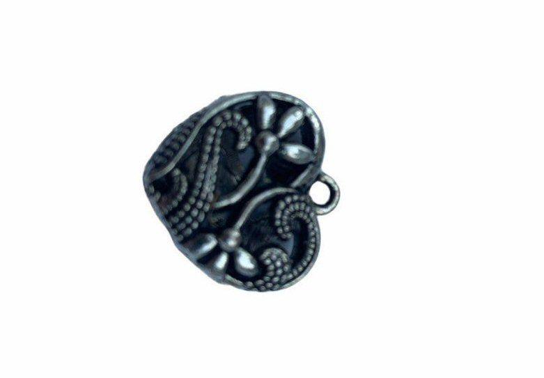 Silver style tiny filigree heart