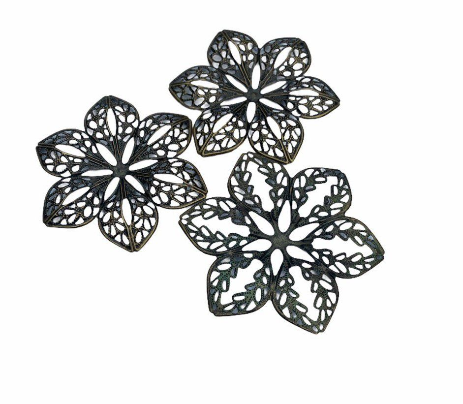 bronze style 6 petal filigree - F7