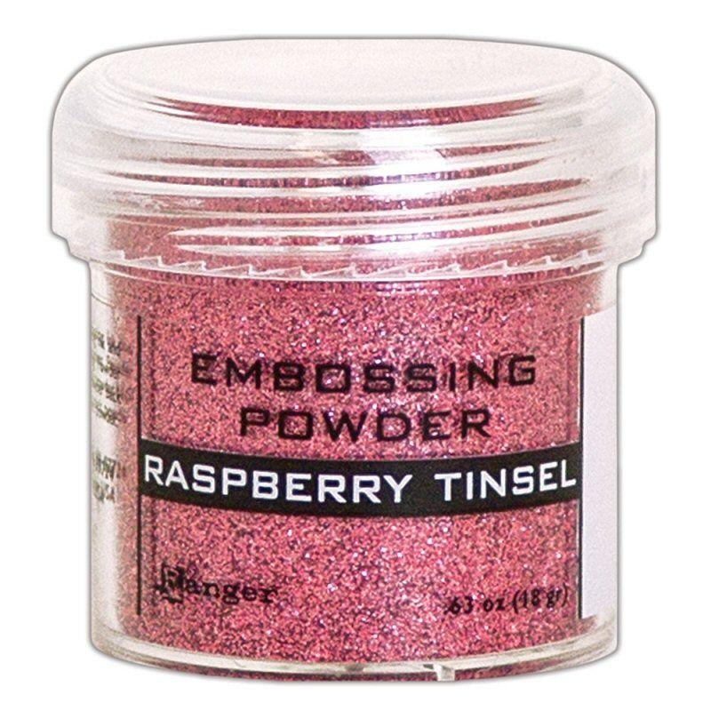 ranger embossing powder Raspbery Tinsel