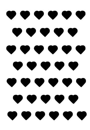 Hearts in a row stencil