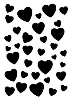 Scattered hearts stencil