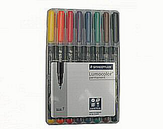 Lumocolour permanent colour pens - 8 fine