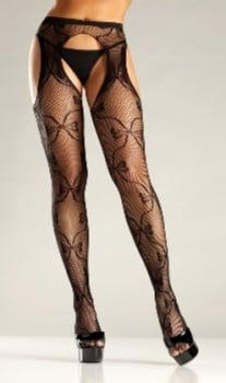 2198871ad Bow Lace Suspender Tights by Be Wicked!