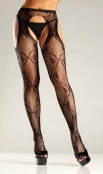21557b61788 Bow Lace Suspender Tights by Be Wicked!