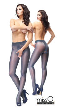 126ee567f5d35 missO Crotchless 20 Denier Shiny Tights in Dark Blue