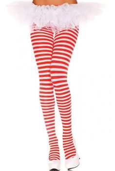 014a6c670912e Music Legs 70 Denier Opaque Striped Tights in White/Red