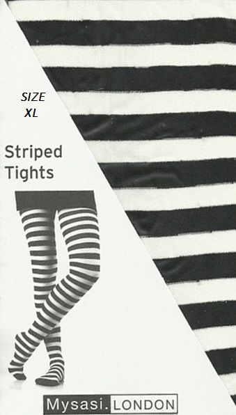 7ad105d3df066 Mysasi Black and White Striped Tights Extra Large