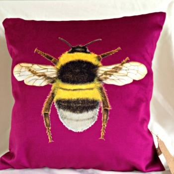 Velvet Chenille Bee Cushion- Berry Purple