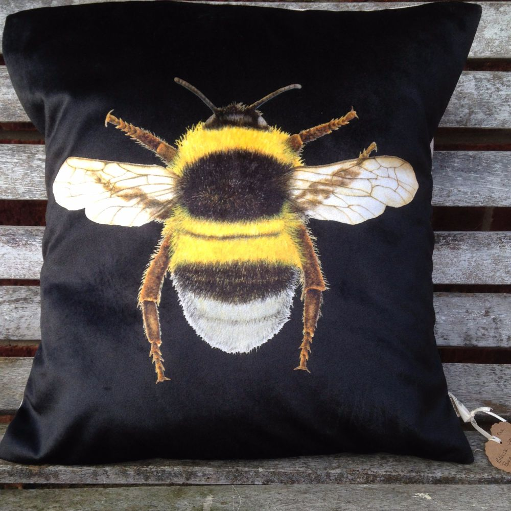 Velvet Bee Cushion- Black
