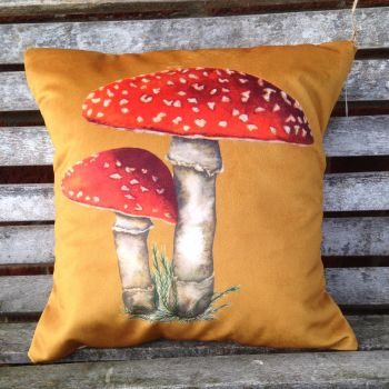 Velvet Fly Agaric Cushion- Gold