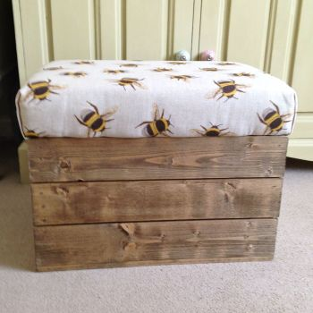 Wooden Vintage Style Apple Crate Storage Seat- linen bee swarm