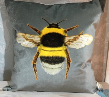 Velvet Chenille Bee Cushion- Silver