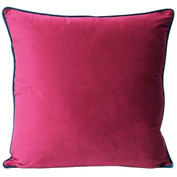 Velvet Cushion- Raspberry and Teal