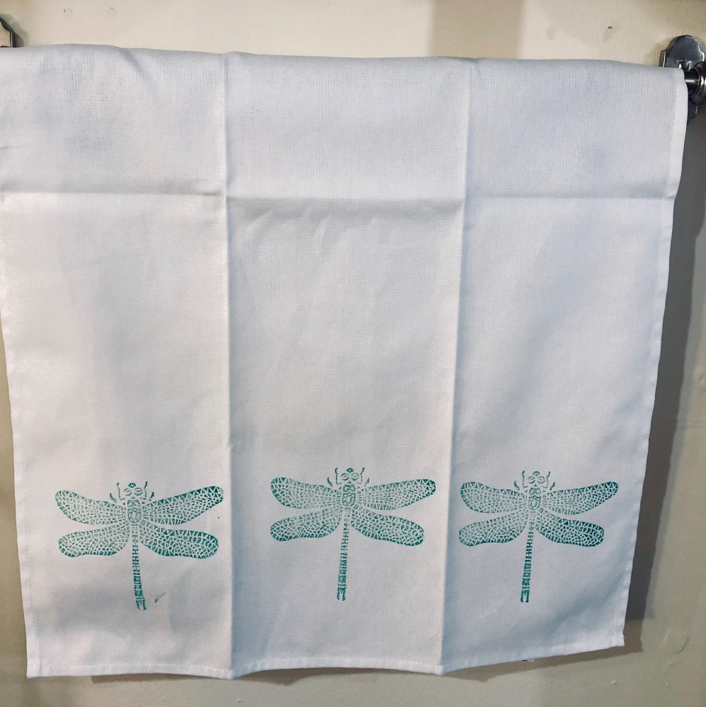 Hand Printed Green Dragonfly Tea Towel