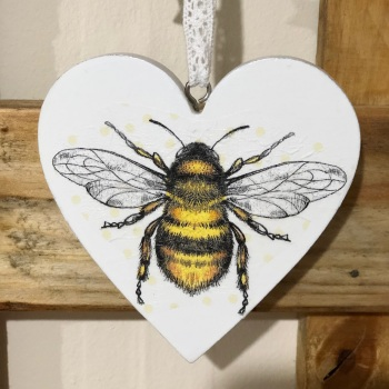 Hanging Heart - Wood Bee